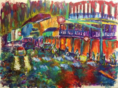Night on Bourbon Street 9x11 Acrylic on Canvas by Taylor Wise