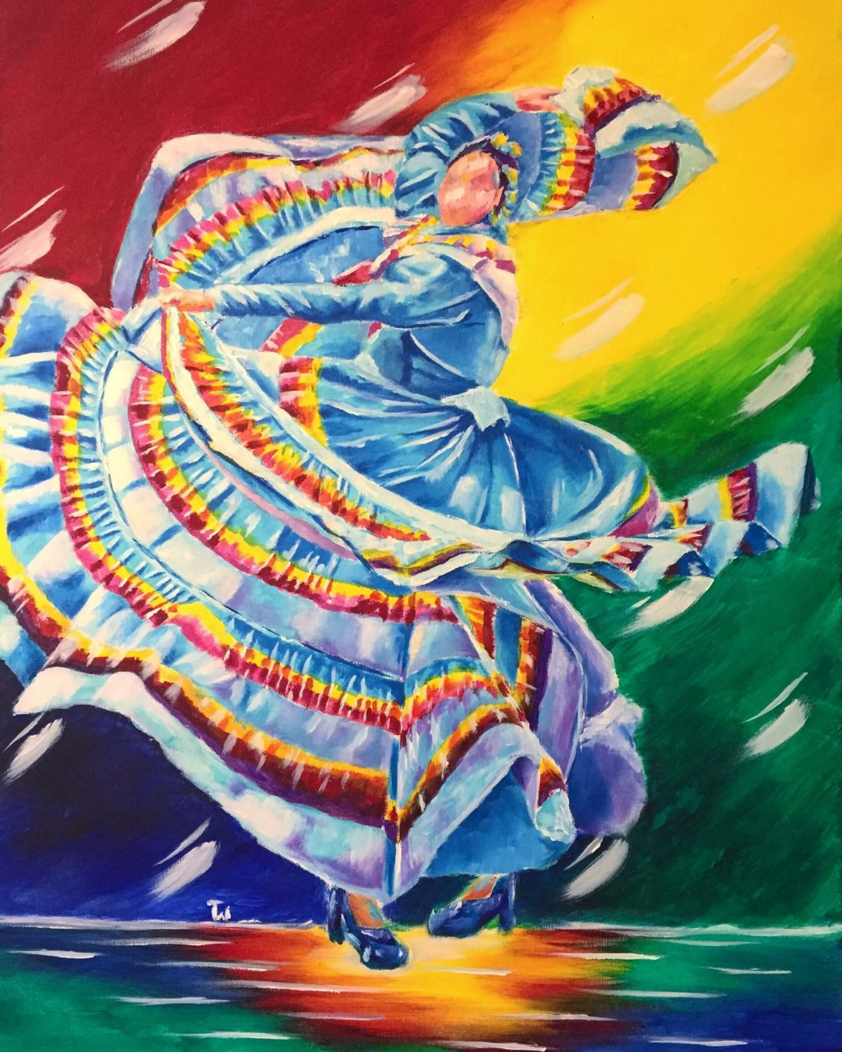 Movimiento 22x28 Acrylic on Canvas by Taylor Wise