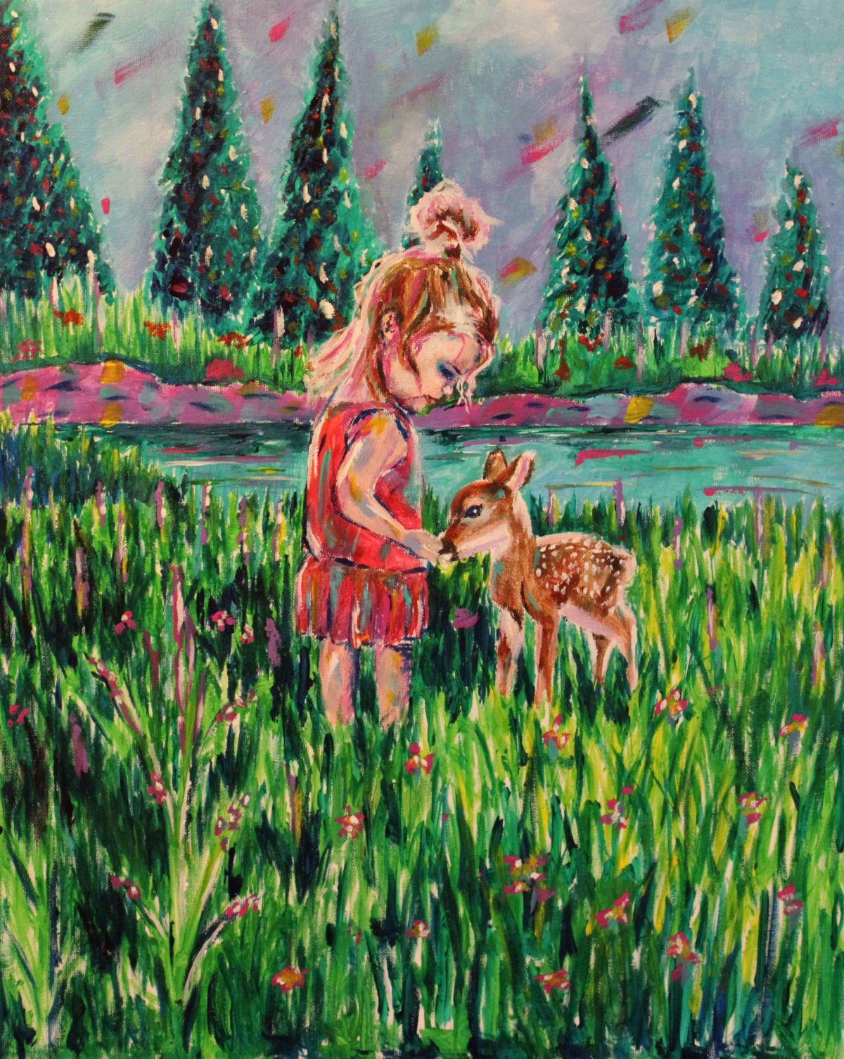 A girl and her Fawn 16x20 Acrylic on Canvas by Taylor Wise